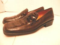 ENZO ANGIOLINI Brown Leather Square Toe Alligator Print Casual Slip On Shoes-Sz