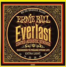 5 Pack! Ernie Ball 2560 Everlast Coated Guitar Strings Ext LT - Free Ship U.S.