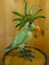 """COLORFUL GREEN STANDING METAL PARROT LARGE 16"""" TROPICAL FUN BIRD FIGURINE STATUE"""