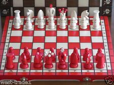 Brand New ♜ Hand Crafted Red♖ Royal Wooden Chess Set 44cm x 44cm ♛