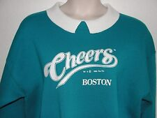 "Vtg 1993 CHEERS TV SHOW - BOSTON Teal Sweatshirt w/White Collar XL 48""Bust EUC!"