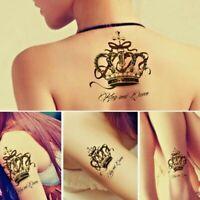 3x King & Queen Crowns Temporary Waterproof Tattoos Women Mens Fake Sticker Back