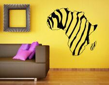Wall Vinyl Sticker Room Decals Mural Design Africa Map Zebra Continent  bo1162