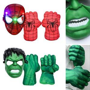 Marvel Kids Superhero Gloves Smash Hands Mask Hulk Ironman Punching Boxing Fists