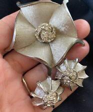 Vintage Retro SIGNED BSK Brooch Earring Demi Parure w/ Clear Rhinestones MCM