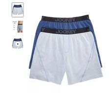 Men's Jockey 2-Pack Boxers Briefs (Blue Pinstripe) No Bunch Comfort Underwear