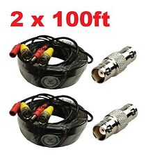 2x 100 Feet Video and Power Cable for CCTV Security Cameras for Defender Cameras