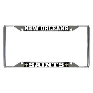 Fanmats NFL New Orleans Saints Chrome Metal License Plate Frame Del. 2-4 Days