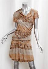 ISABEL MARANT Gray Orange Knit Sculptural Pleat Short Sleeve Dress sz.2