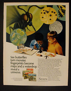 1972 Sears Golden Microscope~Chemistry~Geology~Biology Sets Science Kids Toys Ad