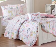 PARIS TRIP 6pc Twin COMFORTER SET : GIRLS PINK EIFFEL FRENCH BED IN BAG