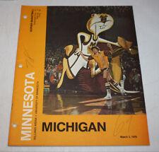 Minnesota Gophers Basketball Program Magazine | March 3 1979 | Kevin McHale