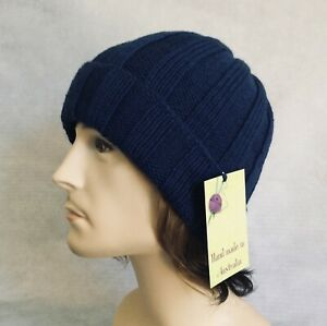 HAND KNITTED MENS 100% AUST MERINO WOOL BLUE RIBBED BEANIE ONE SIZE FIT ALL