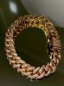 Men's Ice Out 12MM Miami Cuban Link Bracelet 14k Gold Finish Bling Bust Down