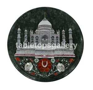 "12"" Green Marble Coffee Table Top Taj Mahal & Floral Inlay Interior Decors B157"