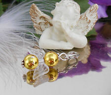 Gold Schutzengel Charms Anhänger f. Kette o. Armband mit Karabiner - Engel -