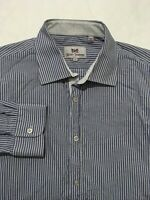 HICKEY FREEMAN Men's Long Sleeve Dress Shirt Blue White Trim Striped Size Large