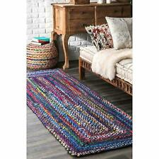 Area Carpet Rag Rug Cotton 2x6 Feet Runner Multi-Color Hand Yoga Dhurrie Mat rug