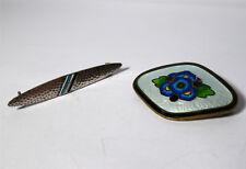 2 Emaille Broschen Art Deco / Jugendstil Silber und Messing