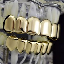 Grillz Set Gold Finish Top & Bottom Teeth New Hip Hop Custom Fit Mouth Grills