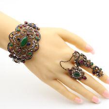Women Turkish Bracelet Bangle Double Finger Chain Ring Retro Indian VTG Flowers