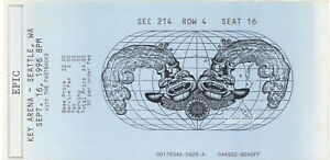 PEARL JAM 1996 NO CODE TOUR KEY ARENA / SEATTLE CONCERT TICKET STUB / VERY GOOD