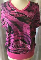 Stylishes Damen DESIGNER T-Shirt Gr M erfrischend Pink schwarz abstraktes Muster