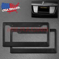 2Pcs Plastic Black Carbon Fiber Style License Plate Frames Front & Rear Bracket