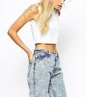 BERSHKA boyfriend mom fit acid wash cropped high waist jeans 34 24 2
