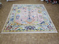 12 x 12 Square Hand Knotted Pink Turkish Oushak Oriental Rug G9150