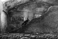 Well Dressed Man Climbing Crumbling Wall B&W Photo Art Print Poster 18x12 inch