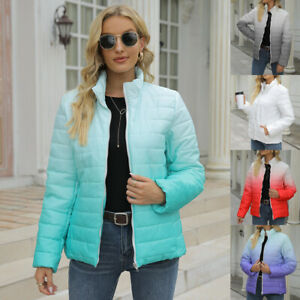 Womens Jacket Ombre Ladies Plus Size Fitted Long Sleeve Zipper Puffer Down Coat