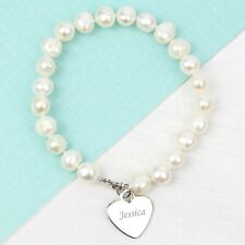 Personalised White Freshwater Pearl Scripted Name Bracelet - Ideal Birthday Gift