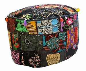 Pretty Indien Black Pouf Cover Stool Vintage Patchwork Living Room Ottoman Cover