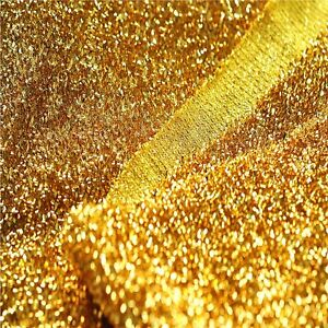 SPARKLE TINSEL Lurex fabric material /150cm wide/ Sparkling GOLD Glitter