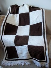 GRANNY SQUARE Crochet Afghan Blanket brown white Vintage Great Condition!