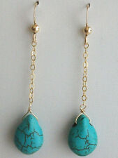 Turquoise Earring Drop Dangle Earrings Gem Stone 14k Gold Fill Earrings Jewelry