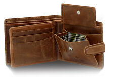 MENS RFID REAL LEATHER WALLET WITH ID & COIN POCKET GIFT BOXED 1212-Hunter Brown