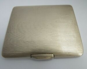HANDSOME CLEAN HEAVY ENGLISH ANTIQUE 1926 SOLID STERLING SILVER CIGARETTE CASE