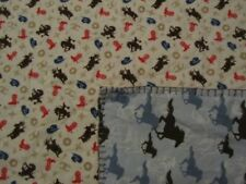 Tan Rodeo/Cowboy and Blue Horse  Double-sided Flannel Baby/Toddler Blanket
