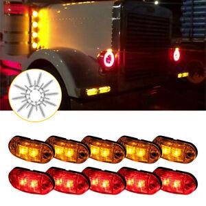 Amber Red RV LED Trailer Truck Clearance Side Marker Light for Boat Marine 10PCS