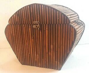 """WOOD & BAMBOO HINGED LID CHEST 17"""" x 10.5"""" X 14"""""""