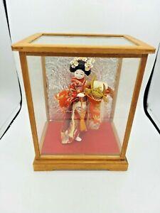 """Vintage Japanese Doll in Kimono in Glass Case 9 1/4"""""""
