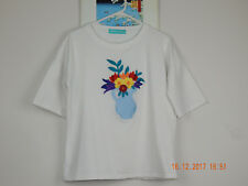 Pre-owned Embroidered Flower Vase Womens T-shirt Cotton Spandex