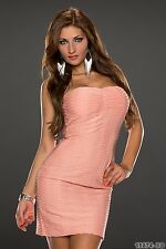 Party Club Wear Chic Stylish Bandeau Bodycon Pleated Dress UK size 8-10