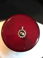 14k White Gold Pendant With 15 Genuine Diamonds And 1 Tahitian South Sea Pearl