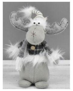 Sitting Grey White Reindeer Scandi Nordic Tartan Gonk Christmas Xmas Decor Santa
