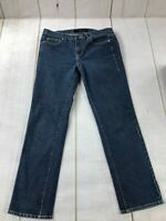 Calvin Klein Womens Dark Wash Flat Front Mid Rise Skinny Blue Denim Jeans Sz 12