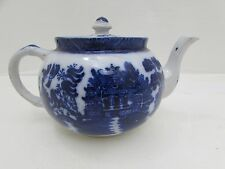 Ye Olde Willow Gater Hall & Co Royal Overhouse Pottery Blue & White Teapot