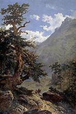 Oil painting carlos de haes - La vereda The sidewalk landscape & old huge trees